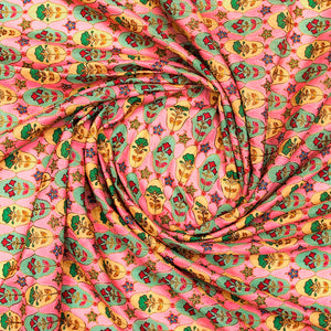 Placement Print on Raw Silk Fabric With Thread-work