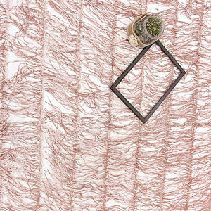 Rose Gold Imported Embroidered Net Fabric With Sequin & Tassel