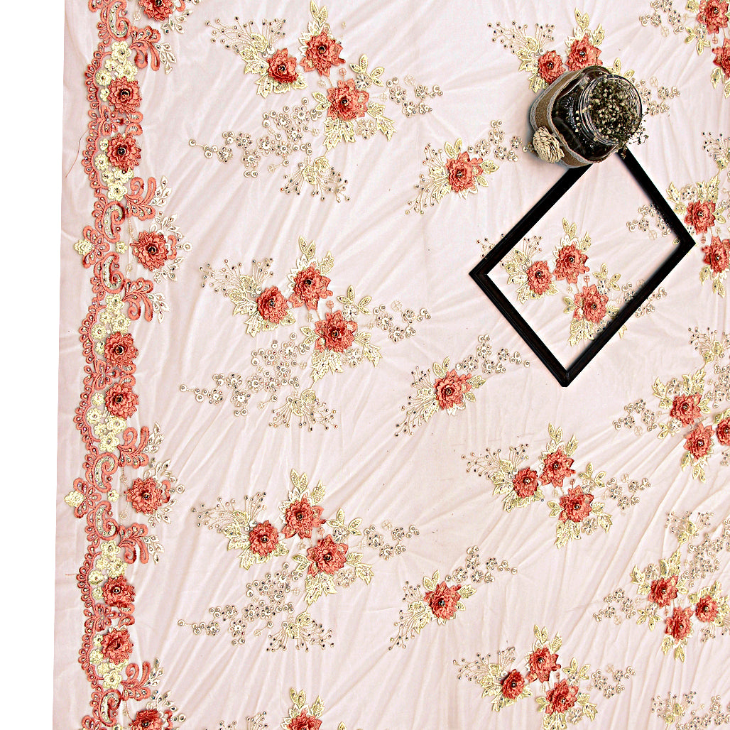 Peach Imported Embroidered Net Fabric With 3D Applique, Pearl & Stone Handwork