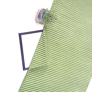 Olive Green Shimmer Satin Pleated Fabric With Foil
