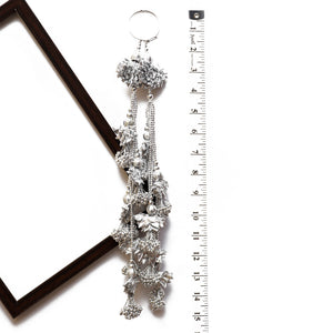 Silver Floral Latkan With Beads & Gota (Set Of 2)