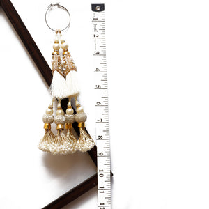 White Latkan With Tassel, Pearl & Mirror (Set Of 2)