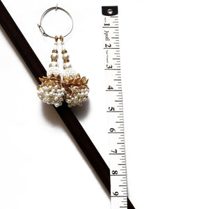 White Latkan With Bead, Pearl & Gota (Set Of 2)