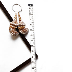 Rose Gold Half-moon Latkan With Sequin, Stone & Pearl (Set Of 2)