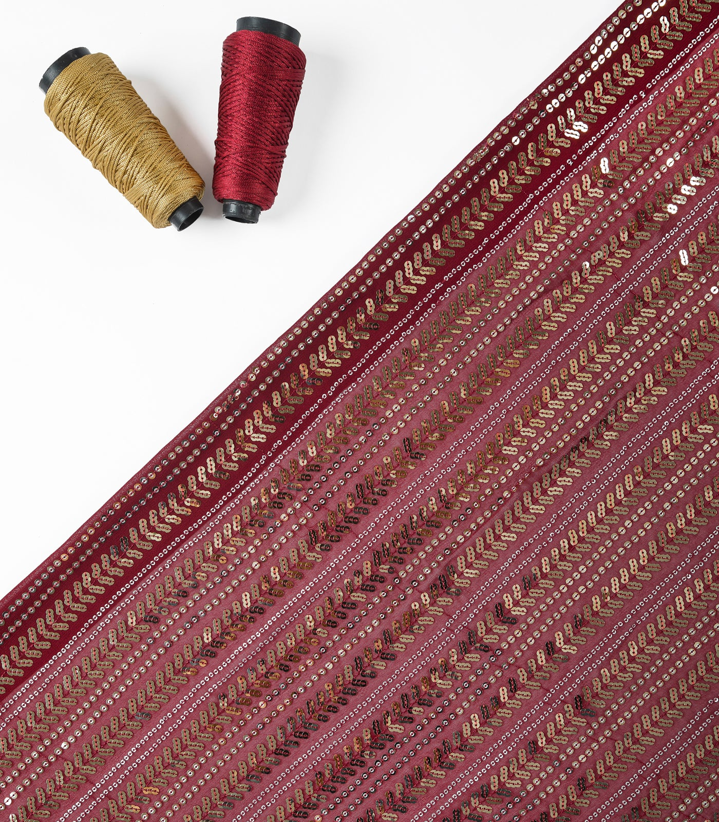 Maroon Embroidered Georgette Fabric With Sequin Work