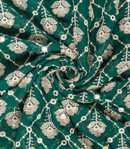 Bottle Green Lucknowi Georgette Fabric With Sequins & Mirror Work