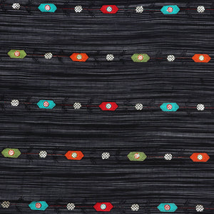 Black Embroidered Ikat Cotton Fabric With Resham & Gota Foil Work