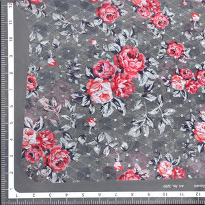 Grey Digital Print Georgette Fabric With Sequin & Thread-work