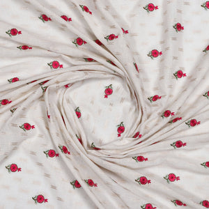 Dyeable White Embroidered Brocade Cotton Fabric With Zari & Thread-work
