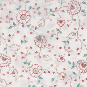 Dyeable White Embroidered Cotton Fabric With Zari & Thread-work
