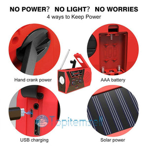 EDC Emergency Hand Crank Solar USB Charger with Weather Radio