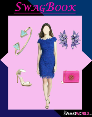 Pairing accessories with little blue dress