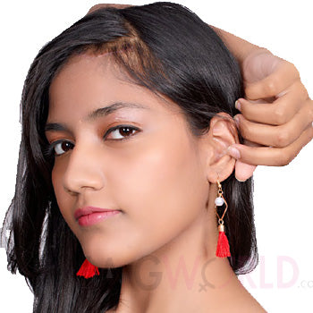 Akshita Red Earrings - TheSwagWorld