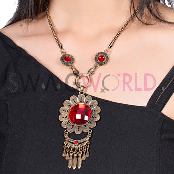 Bohemian Ruby Charm Necklace Set - TheSwagWorld