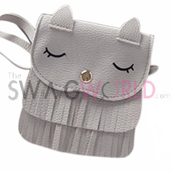 Kids Grey Kitty Sling Bag - TheSwagWorld