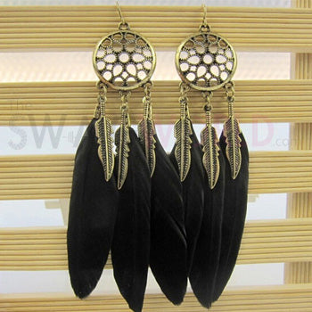 Hannah Black Feather Earrings - TheSwagWorld