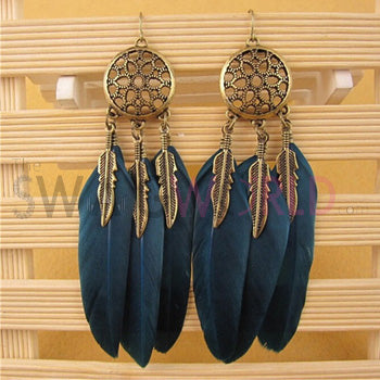 Hannah Blue Feather Earrings - TheSwagWorld