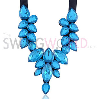 Sheron Blue Ribbon Necklace - TheSwagWorld