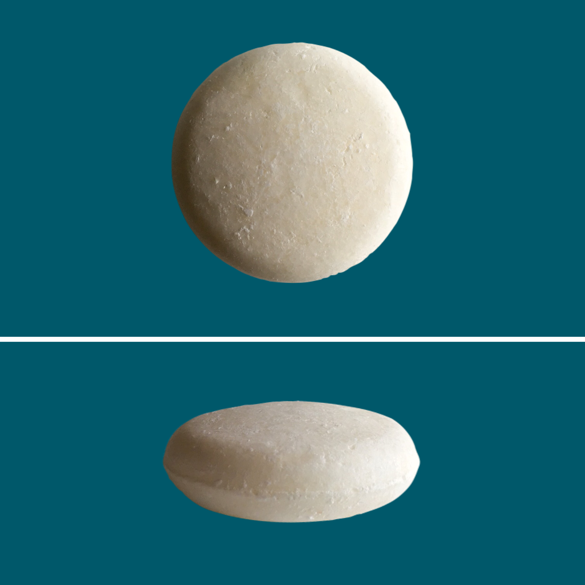 Top and side view of Green Ablutions Fragrance Free Shampoo Bar on teal background. Sustainable Zero-waste Plastic-free haircare.