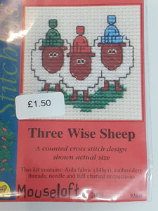 """Three Wise Sheep"" Cross Stitch"