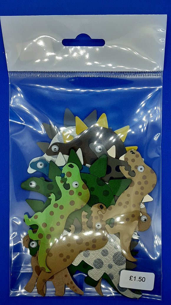 Pack of handmade dinosaur embellishments