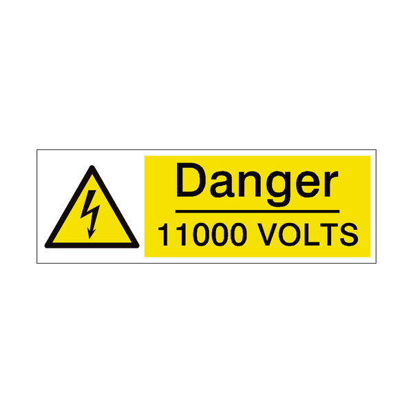 11000 Volts Safety Sign - PVC Safety Signs