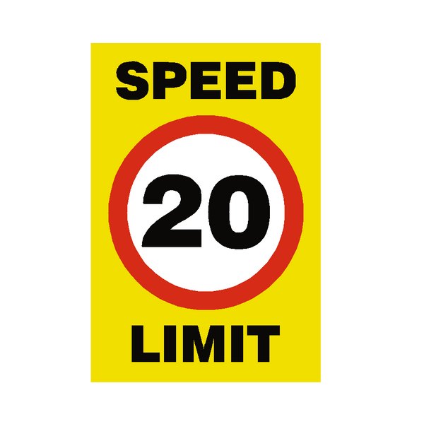 20 Mph Speed Limit Sign - PVC Safety Signs