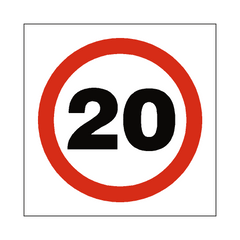 20 Mph Speed Sign | PVC Safety Signs | Health and Safety Signs