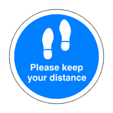 Please Keep Your Distance Floor Sticker - Blue - PVC Safety Signs