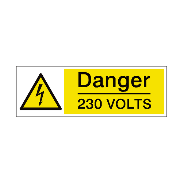 230 Volts Safety Sign | PVCSafetySigns.co.uk