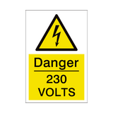 230 Volts Sign | PVCSafetySigns.co.uk