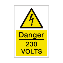 230 Volts Sign | PVC Safety Signs | Health and Safety Signs
