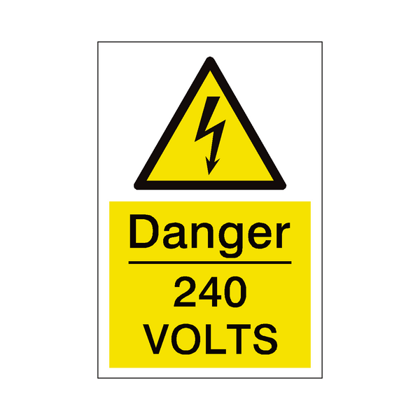 240 Volts Sign | PVCSafetySigns.co.uk