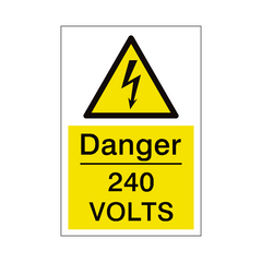 240 Volts Sign | PVC Safety Signs | Health and Safety Signs