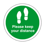 Please Keep Your Distance Floor Sticker - Green - PVC Safety Signs