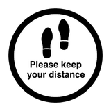 Please Keep Your Distance Floor Sticker - Black - PVC Safety Signs