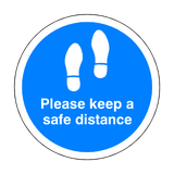 Please Keep A Safe Distance Floor Sticker - Blue - PVC Safety Signs