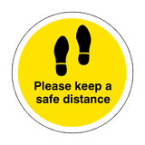 Please Keep A Safe Distance Floor Sticker - Yellow - PVC Safety Signs