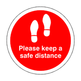 Please Keep A Safe Distance Floor Sticker - Red - PVC Safety Signs