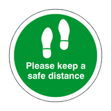 Please Keep A Safe Distance Floor Sticker - Green - PVC Safety Signs