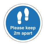 Please Keep 2M Apart Floor Sticker - Blue - PVC Safety Signs