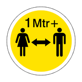 1 Metre Plus Gap Floor Sticker - Yellow - PVC Safety Signs