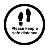 Please Keep A Safe Distance Floor Sticker - Black - PVC Safety Signs