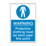 Protective Clothing Must Be Worn Past This Point Sign | PVC Safety Signs