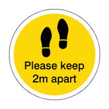 Please Keep 2M Apart Floor Sticker - Yellow - PVC Safety Signs