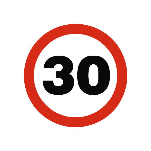 30 Mph Speed Sign - PVC Safety Signs