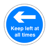 Keep Left At All Times Floor Sticker - Blue - PVC Safety Signs