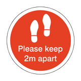 Please Keep 2M Apart Floor Sticker - Red - PVC Safety Signs