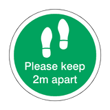 Please Keep 2M Apart Floor Sticker - Green - PVC Safety Signs
