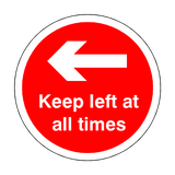 Keep Left At All Times Floor Sticker - Red - PVC Safety Signs